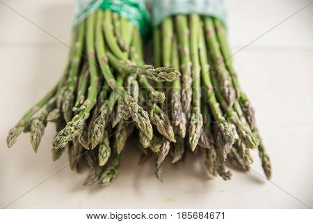 Fresh green asparagus on a table from the farmers market