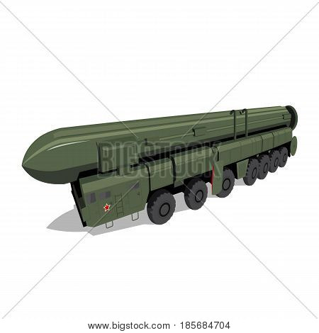 Russian mobile ballistic missile system 'Poplar' (Topol). Soviet military rocket vehicle