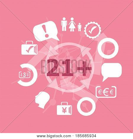 Text 21 Plus. Social Concept . Icons Set. Flat Pictogram. Sign And Symbols For Business, Finance, Sh