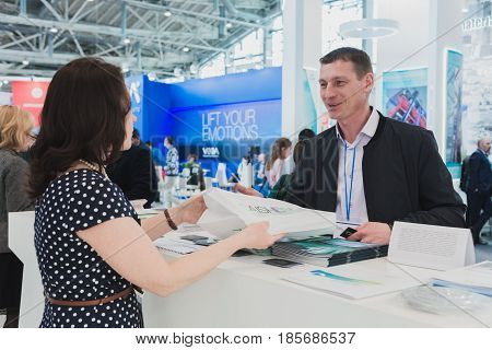 MOSCOW RUSSIA VDNH - APRIL 25-27 2017: RUSSIAN ELEVATOR WEEK International exhibition.