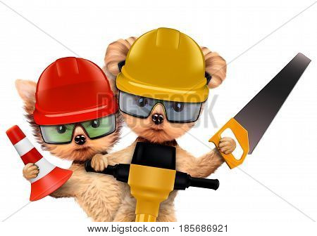 Funny couple of puppies with hard hat, protective goggles, saw and cone holding jackhammer, isolated on white. Teamwork and cooperation concept. Realistic 3D illustration