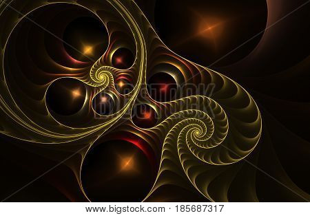 An abstract computer generated fractal design. Abstract fractal color texture. Neon glowing fractal spiral. Digital art background