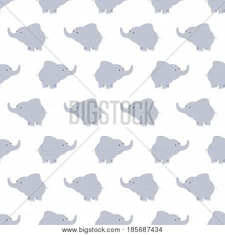 Pattern of blue and grey elephants. Background with elephants. Children s pattern. Background of cute elephants