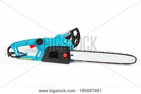 Electric Chainsaw. Green Electric Chainsaw Isolated On White Background