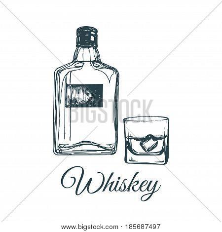 Hand sketched whiskey bottle and glass. Vector illustration of scotch set. Vintage alcoholic drink menu design concept for bar, restaurant etc.