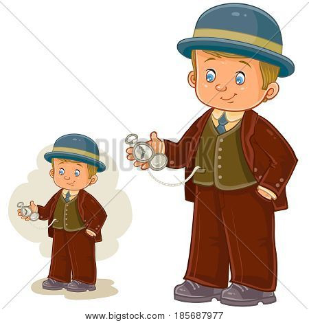 Vector illustration of a little boy dressed in period costume and holds in his hand a pocket watch. Print, template, design element
