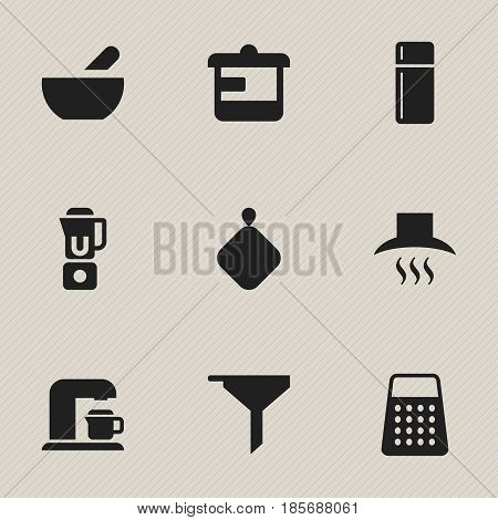 Set Of 9 Editable Food Icons. Includes Symbols Such As Refrigerator, Drink Maker, Utensil And More. Can Be Used For Web, Mobile, UI And Infographic Design.