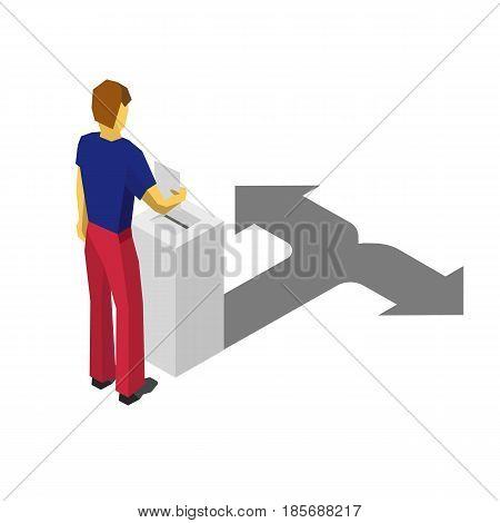 Man in blue and red put voting paper in election box. Shadow of box is similar to arrows, that shows opposite directions. Isolated on white background.  Isometric 3D vector clip art.
