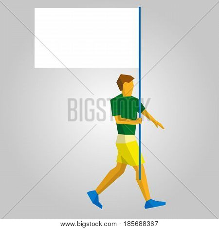 Flag bearer in green and yellow with blank standard in one hand. Flat athlete icon. Simple vector illustration.