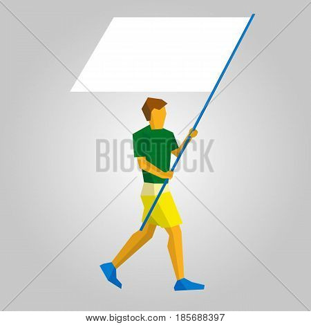Flag bearer in green and yellow with blank standard in two hands. Flat athlete icon. Simple vector illustration.