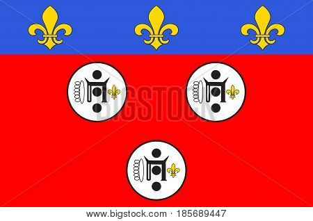 Flag of Chartres is a commune and capital of the Eure-et-Loir department in France. Vector illustration