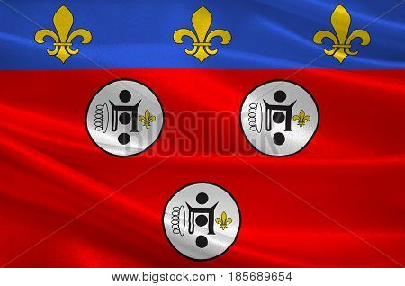 Flag of Chartres is a commune and capital of the Eure-et-Loir department in France. 3D illustration