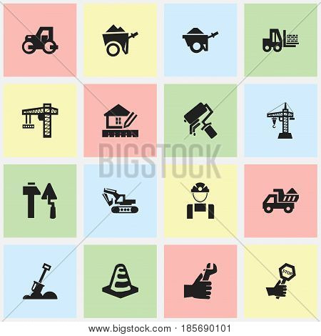 Set Of 16 Editable Building Icons. Includes Symbols Such As Lifting Equipment, Elevator, Truck And More. Can Be Used For Web, Mobile, UI And Infographic Design.
