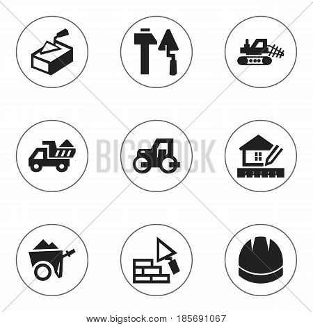 Set Of 9 Editable Construction Icons. Includes Symbols Such As Construction Tools, Home Scheduling, Spatula And More. Can Be Used For Web, Mobile, UI And Infographic Design.
