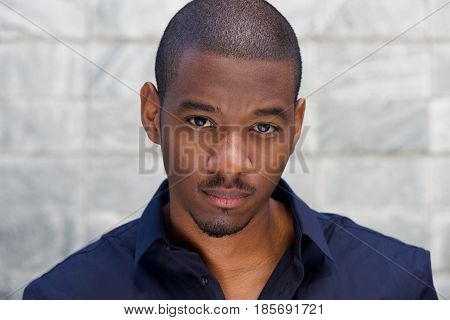 Close Up Handsome Young Black Man Staring