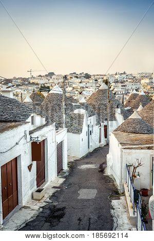 Traditional Trulli Houses In Arbelobello, Puglia, Italy