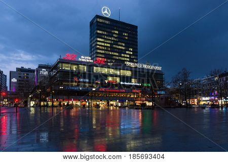 BERLIN - FEBRUARY 04: Europa-Center is a building complex on the Breitscheidplatz symbol of West Berlin during the Cold War February 04 2013 in Berlin Germany