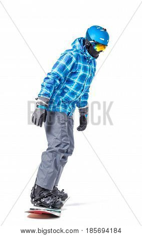 Portrait of young man in sportswear with snowboard isolated on a white background.