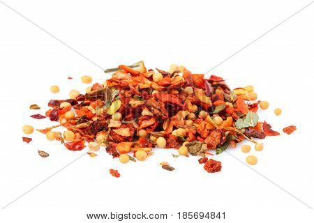 Mix of spices (condiment) isolated on white background close-up.