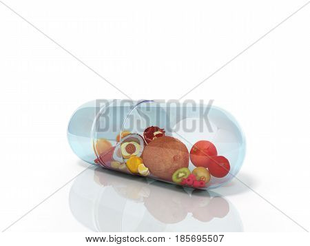 Different Fruit In Capsule Healthy Diet Concept 3D Render On Glas Glor
