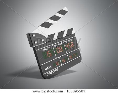 Movie Clapper Board High Quality 3D Render On Grey