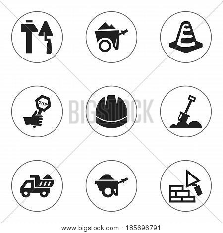 Set Of 9 Editable Construction Icons. Includes Symbols Such As Camion , Handcart , Endurance. Can Be Used For Web, Mobile, UI And Infographic Design.