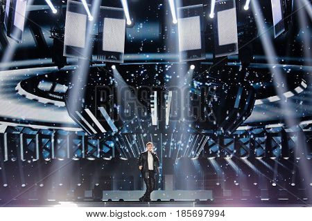 KYIV UKRAINE - MAY 08 2017: Omar Naber from Slovenia at the first semi-final rehearsal during Eurovision Song Contest in Kyiv Ukraine