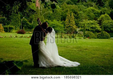 Darkened Picture Of A Groom Kissing A Bride On The Lawn
