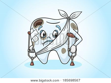 Cartoon tooth very ill with the caries.
