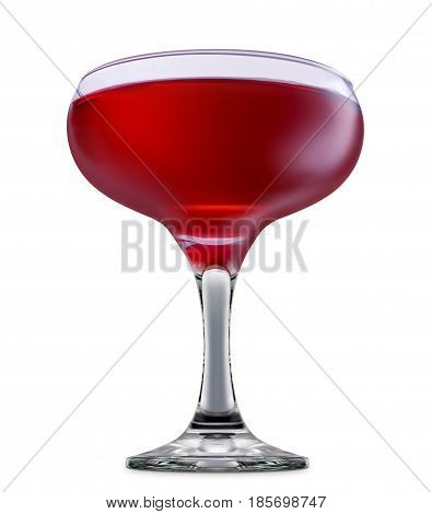 fresh fruit alcohol cocktail or mocktail in margarita glass with red beverage isolated on white background
