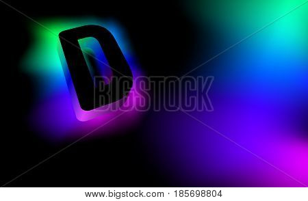 Abstract letter D. Creative glow pattern 3D logo corporate style of the company or brand name D. Black letter abstract, multicolored, gradient, blurred background. Elements of graphic design