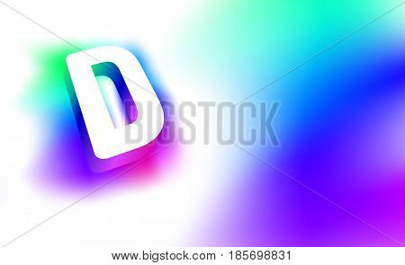 Abstract Letter D. Template of creative glow 3D logo corporate identity of company or brand name letter D. White letter abstract, multicolored, gradient, blurred background. Graphic design elements.