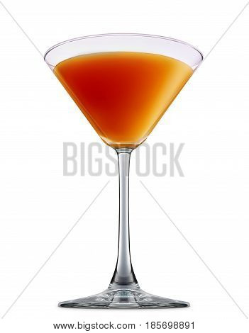 fresh fruit alcohol cocktail or mocktail mimosa in martini glass with orange beverage isolated on white background