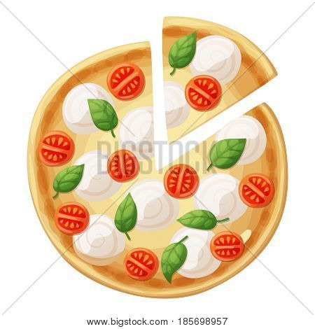 Pizza top view. Cherry tomato, sausages or salami, mozarella, olives, basil leaves. Cartoon vector food illustration isolated on white background. American and Italian fast food pizza