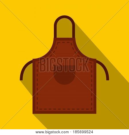 Brown welding apron icon. Flat illustration of brown welding apron vector icon for web on yellow background