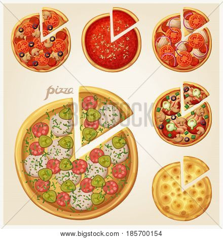 Pizza top view set. Italian whole pizza with slices. Set 1 of 2.