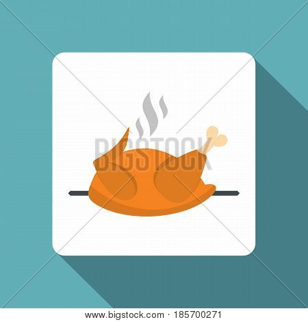 Grilled chicken on a grill icon. Flat illustration of grilled chicken on a grill vector icon for web