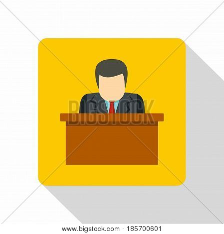 Orator speaking from tribune icon. Flat illustration of orator speaking from tribune vector icon for web