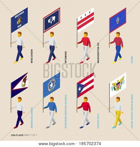 Set of isometric 3D USA standard bearers. Flags of Wisconsin, Wyoming, District of Columbia, Samoa, Guam, Mariana Islands, Puerto Rico, Virgin Islands. United states political division infographics.