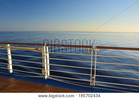 Sea view from cruise ship open deck