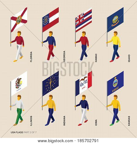Set of isometric 3D USA standard bearers. Flags in alphabetical order: Florida, Georgia, Hawaii, Idaho, Illinois, Indiana, Iowa, Kansas. United states political division infographics.