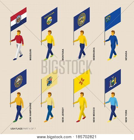 Set of isometric 3D USA standard bearers. Flags of Missouri, Montana, Nebraska, Nevada, New Hampshire, New Jersey, New Mexico and New York. United states political division infographics.
