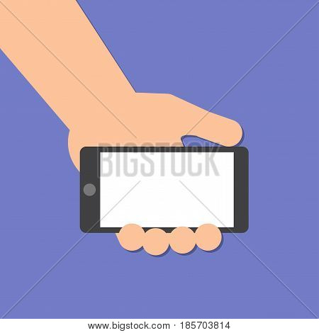 The left hand holds a smart phone in horizontal position. Application Template illustration of a smartphone. Vector icons emblem. Flat style