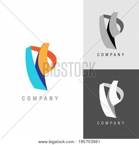 Logo design element. Letter symbol P. Vector illustration