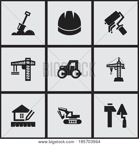 Set Of 9 Editable Construction Icons. Includes Symbols Such As Excavation Machine, Oar, Scrub And More. Can Be Used For Web, Mobile, UI And Infographic Design.