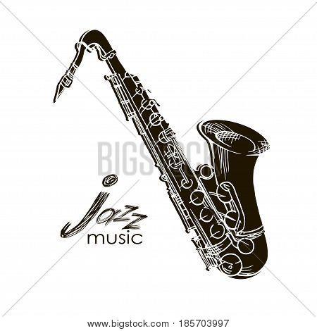 Saxophone Doodle, Hand Drawn Sketch, Vector Illustration.