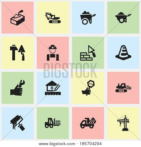 Set Of 16 Editable Structure Icons. Includes Symbols Such As Notice Object, Excavation Machine, Spatula And More. Can Be Used For Web, Mobile, UI And Infographic Design.
