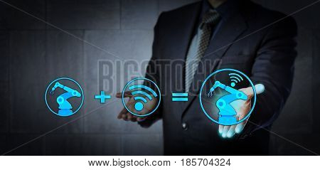 Blue chip consultant offering technology solution. A six axis industrial robot icon plus a wireless data exchange symbol do equate a cyber physical system. Concept for industry 4.0 and smart factory.