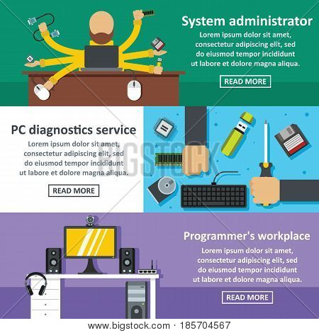 System admin banner horizontal concept set. Flat illustration of 3 system admin vector banner horizontal concepts for web