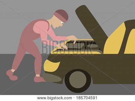 Mechanic repairs car motor icon transport object